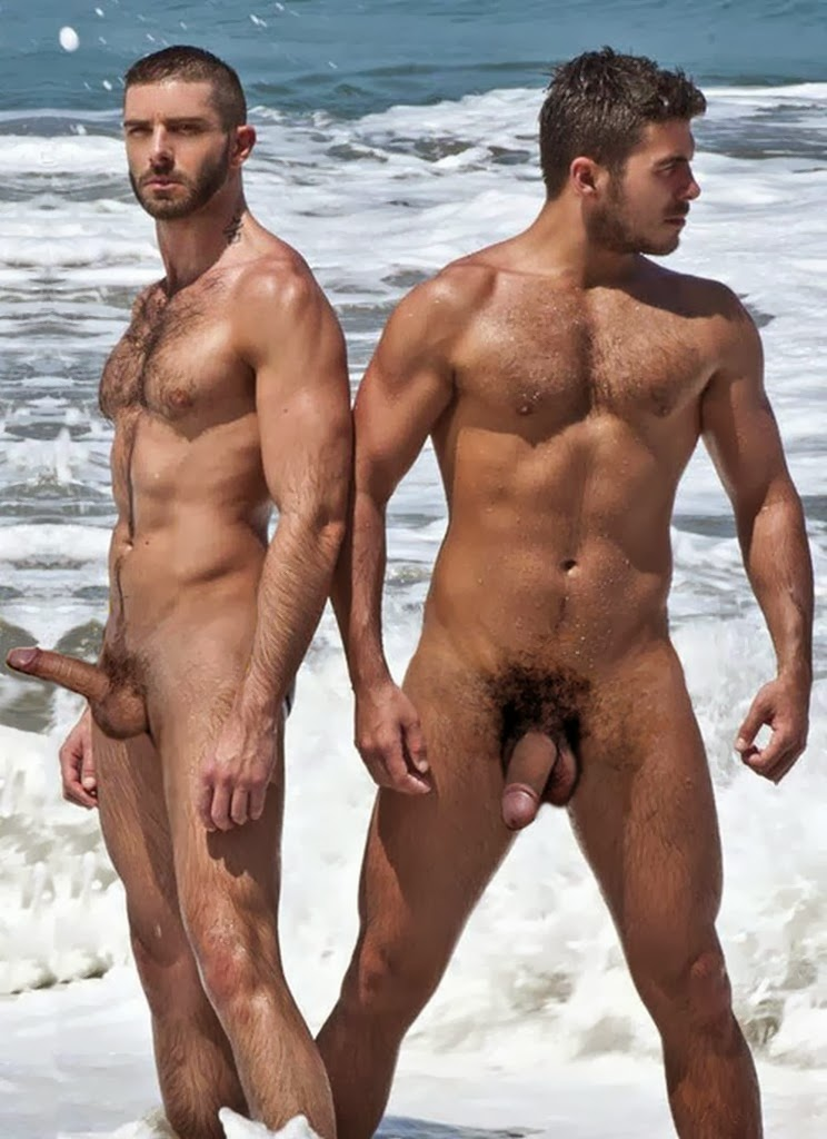 naked man at public beach